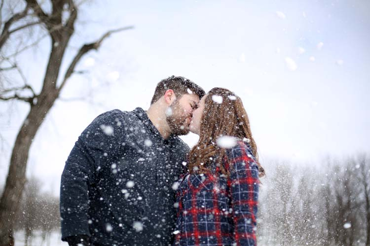 This winter engagement session in the snow will melt your heart!