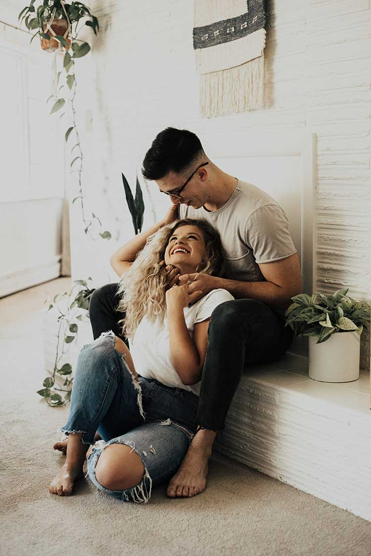 Couple At Home Photoshoot with Plants | 10 Quarantine Date Ideas for Engaged Couples & Newlyweds | featured on I Do Yall | photo by Light Rise Photography