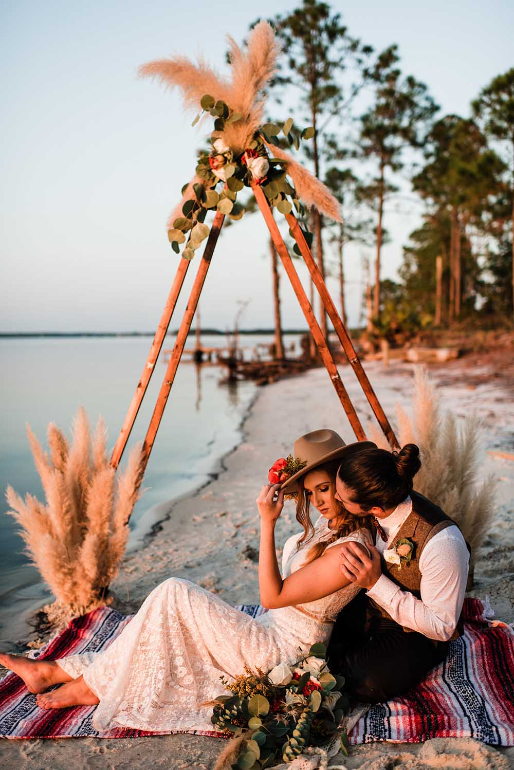 Boho Triangular Wedding Arch with Pompas Grass | photo by MBM Photography | featured on I Do Y'all