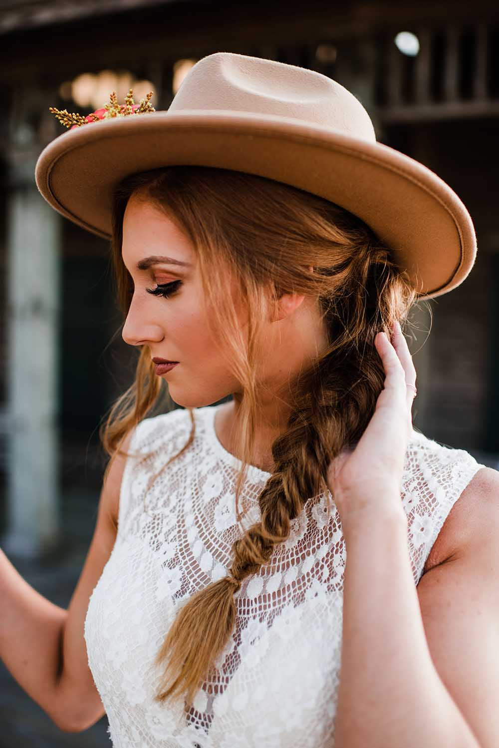 Boho Bridal Style with Felt Hat & Fishtail Braid | photo by MBM Photography | featured on I Do Y'all
