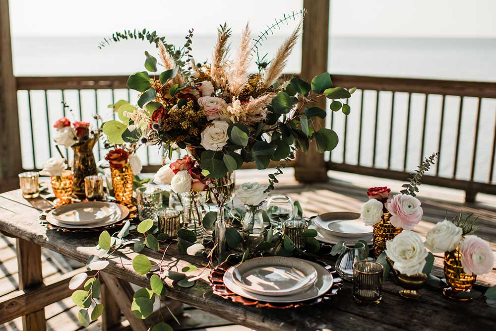 Boho Coastal Microwedding Dinner on Pier | photo by MBM Photography | featured on I Do Y'all
