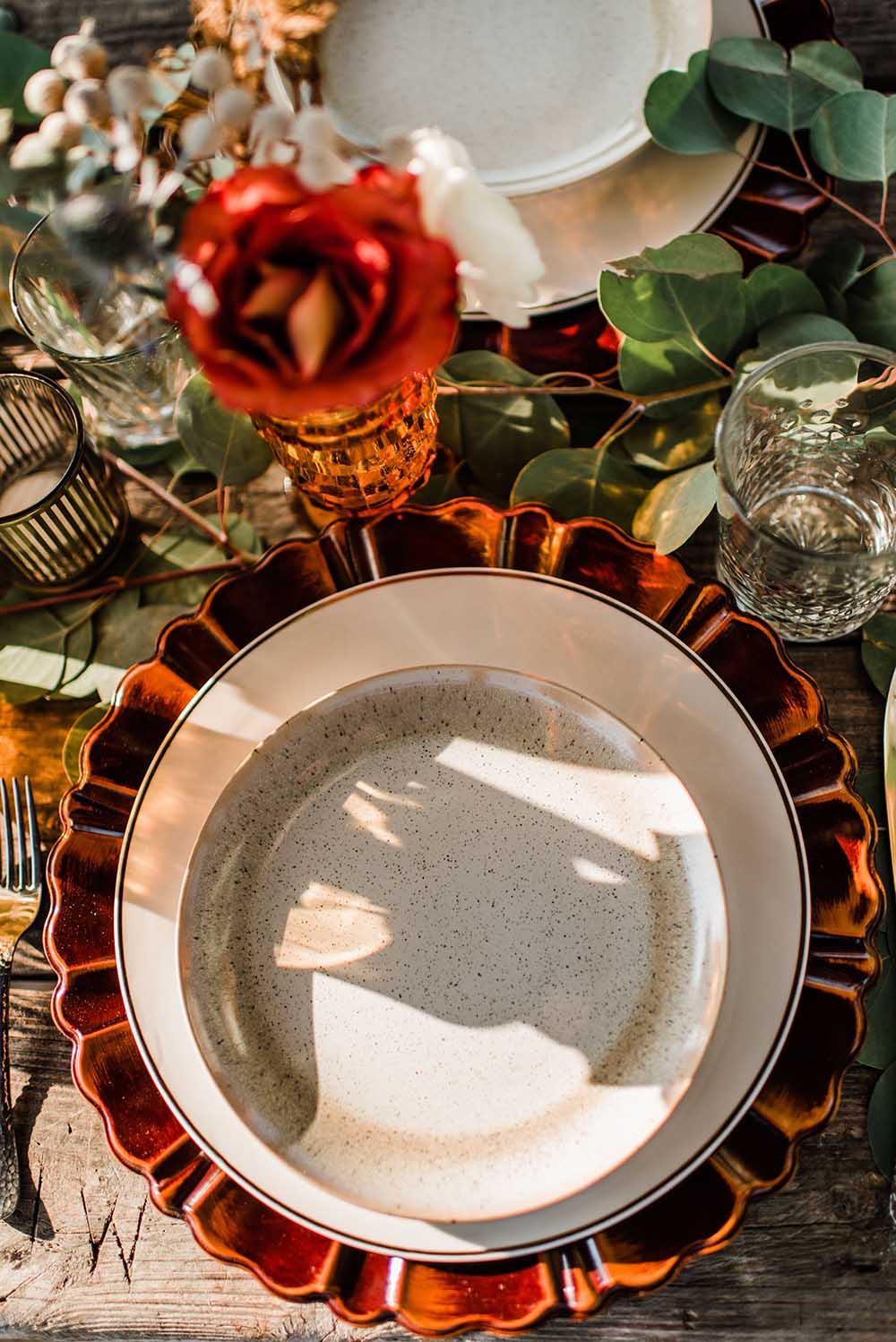 Fall Themed Place Setting for Boho Coastal Microwedding Dinner on Pier | photo by MBM Photography | featured on I Do Y'all