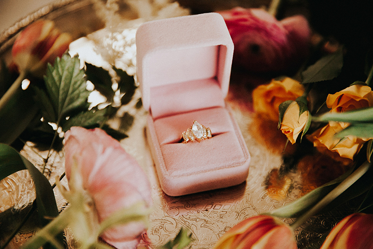 Engagement Ring in Pink Velvet Ring Box | photo by Deltalow | featured on I Do Y'all