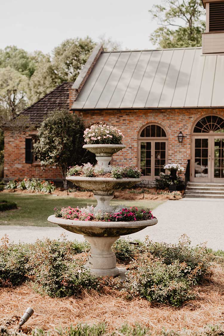 Fountain Filled with Flowers | photo by Emily Green Photography | featured on I Do Y'all