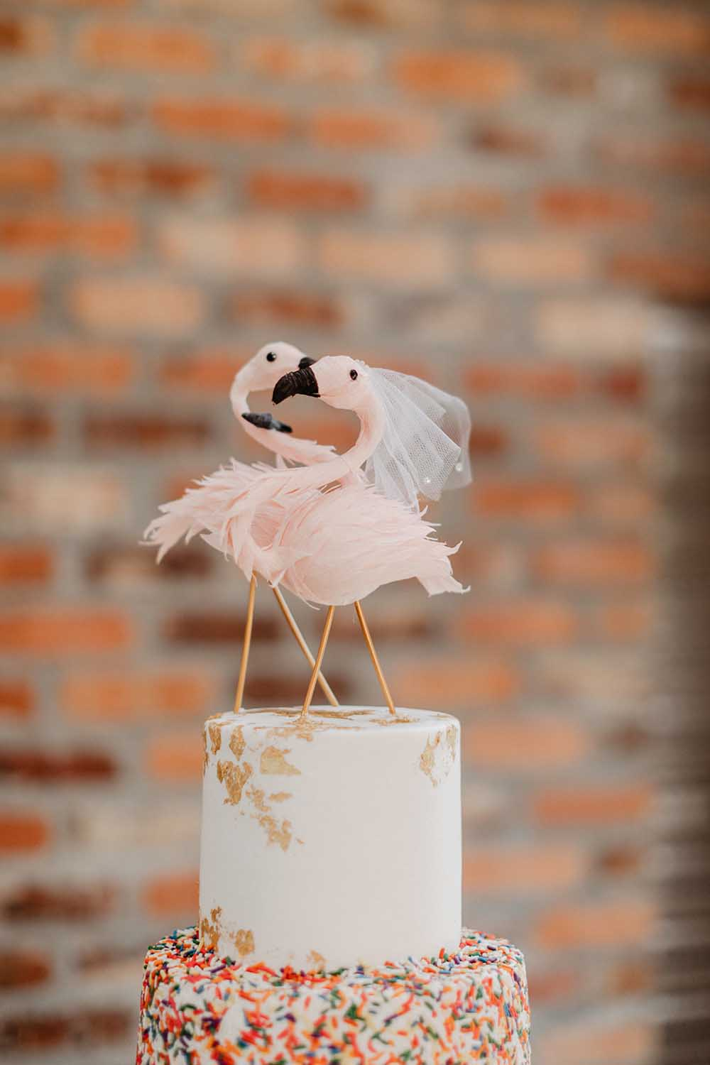 Flamingo Wedding Cake Topper | photo by Emily Green Photography | featured on I Do Y'all