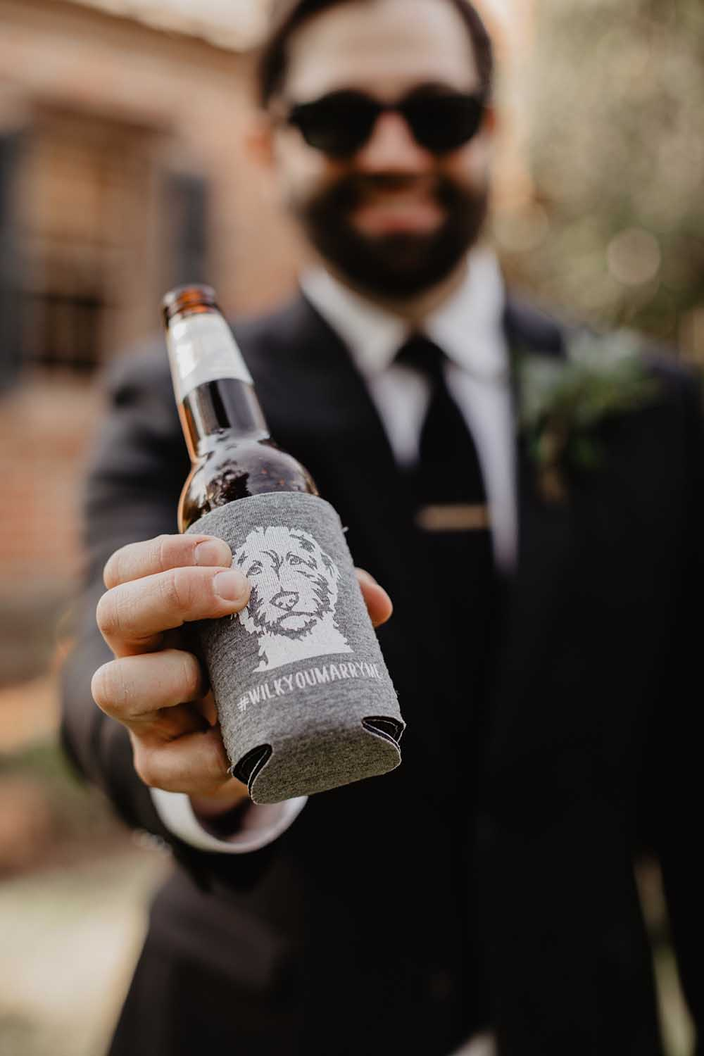 Custom Wedding Koozie with Dog's Face | photo by Emily Green Photography | featured on I Do Y'all