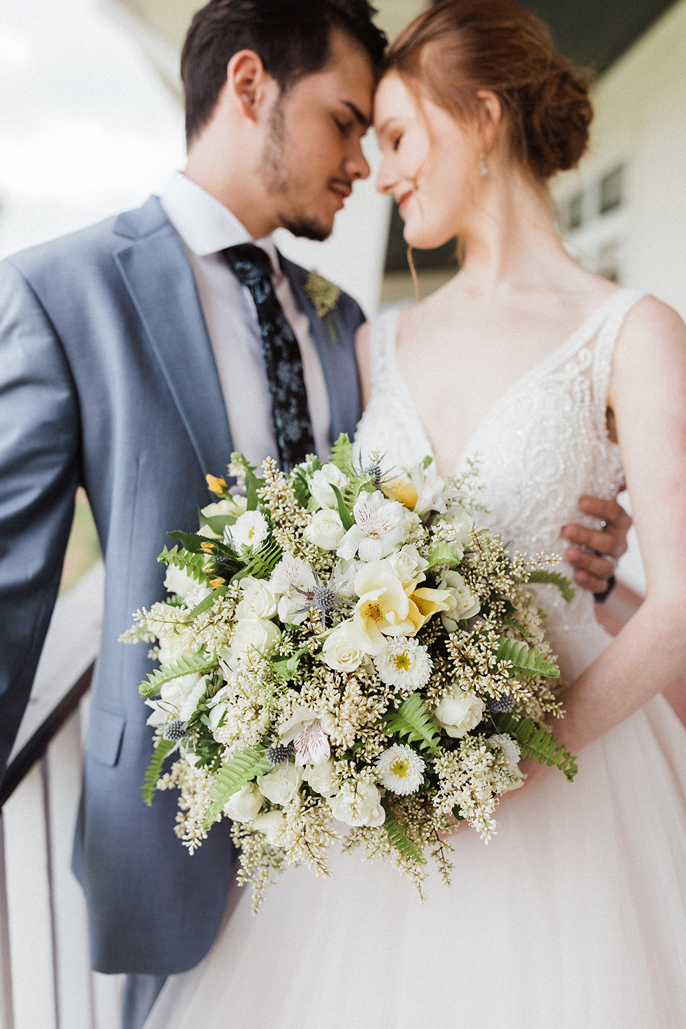 White & Yellow Wedding Bouquet with Fern Greenery | photo by Ash Simmons Photography | featured on I Do Y'all