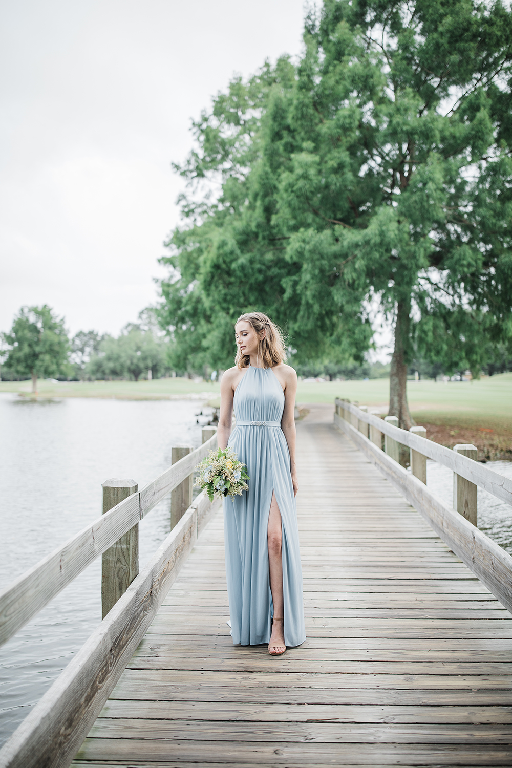 Blue High Neck Bridesmaids Dress | photo by Ash Simmons Photography | featured on I Do Y'all