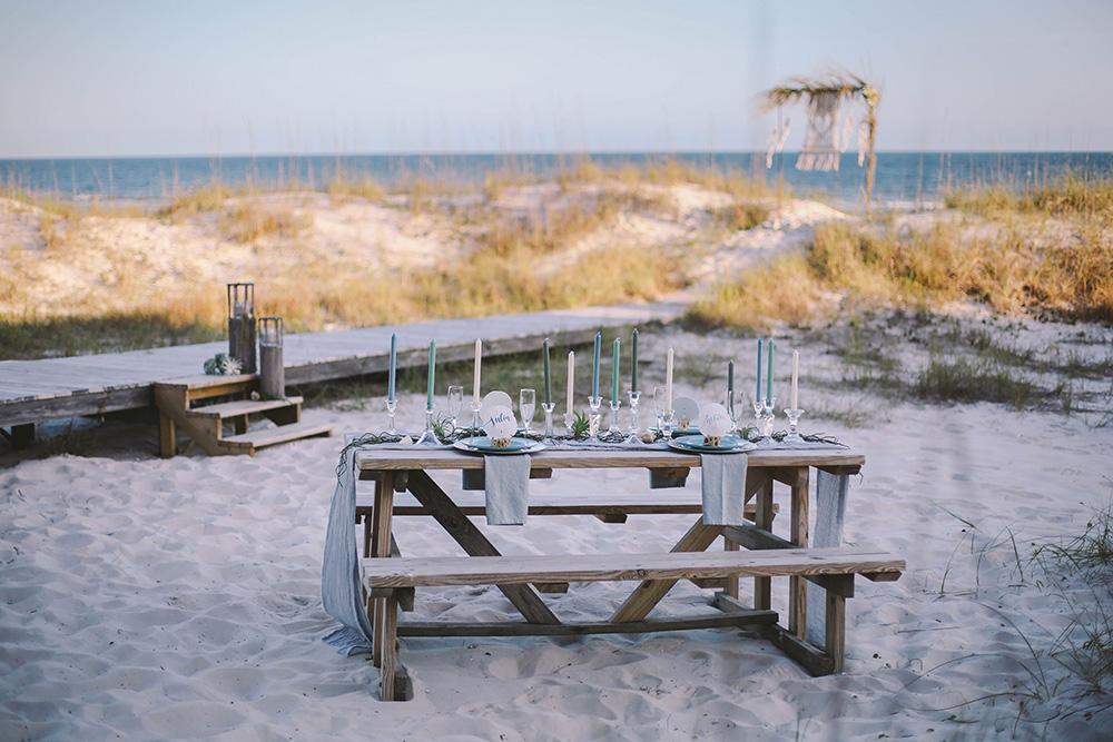 Blue & Gray Boho Beach Wedding Reception | featured on I Do Y'all