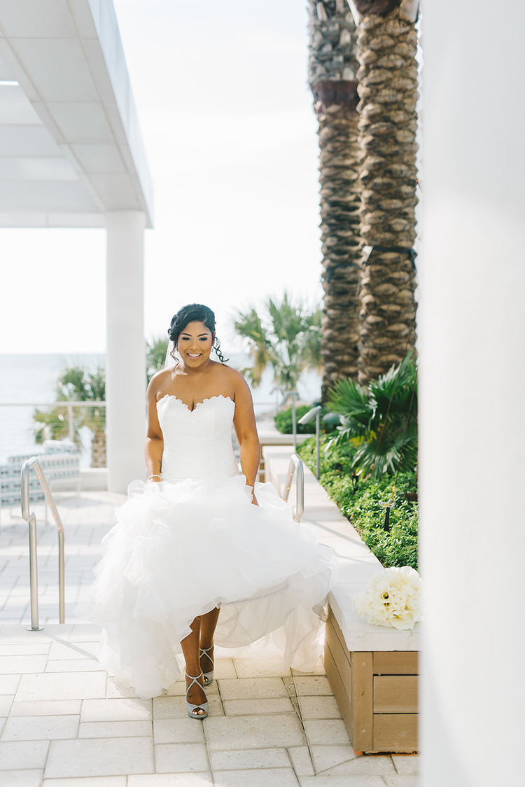 Strapless Wedding Gown for Modern Oceanside Wedding | photo by Kera Photography | featured on I Do Y'all