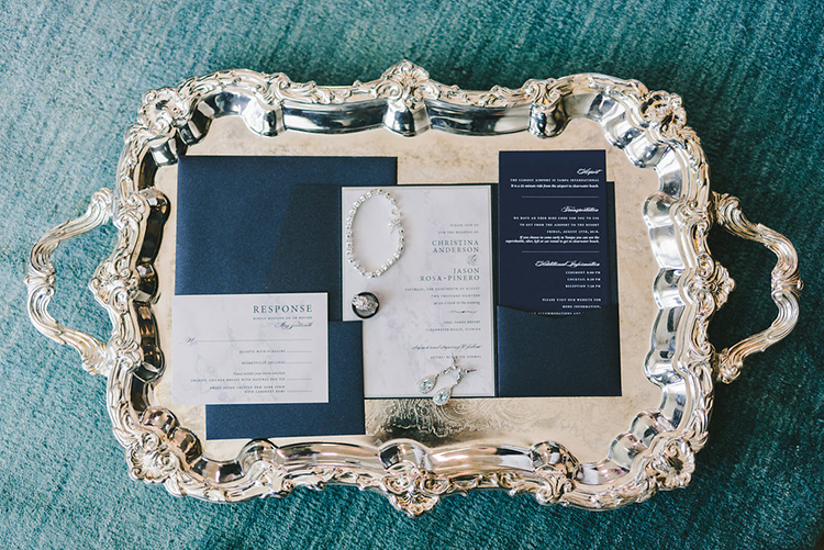 Elegant Navy Wedding Invitations on Silver Tray | photo by Kera Photography | featured on I Do Y'all