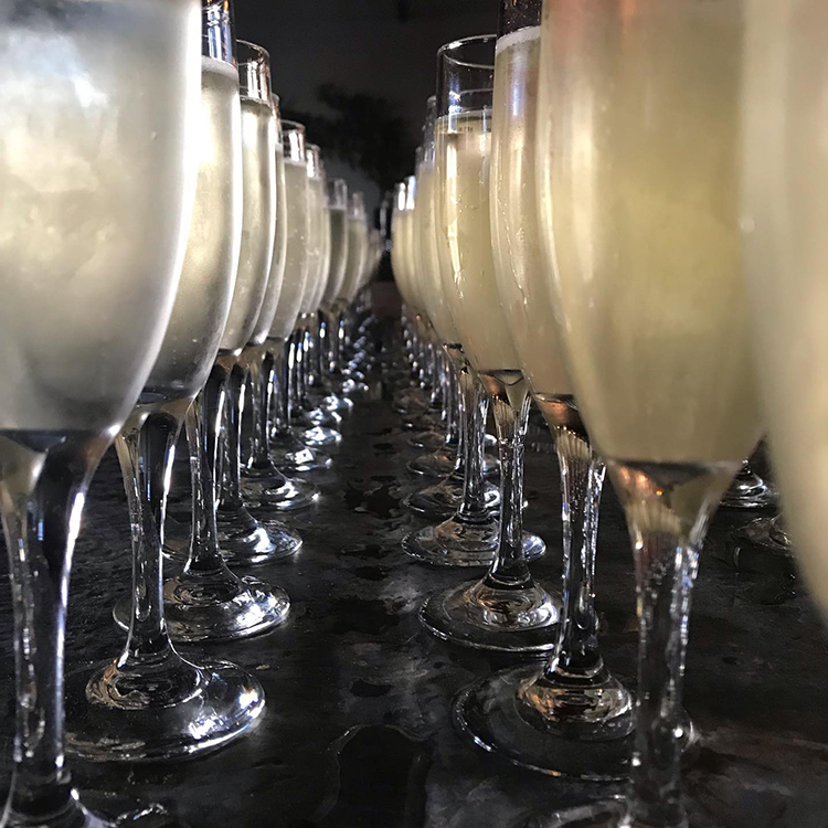 Best Wedding Bar on a Budget Tips | Champagne Glasses in a Row | featured on I Do Y'all