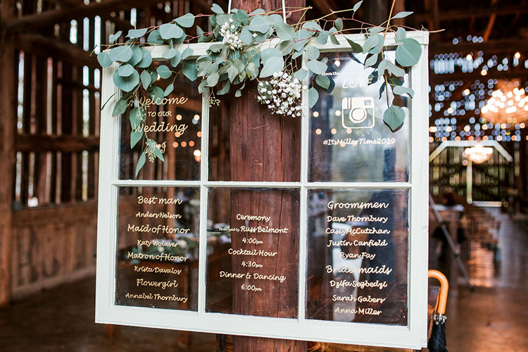 Window frame wedding program decor | photo by John Myers Photography | featured on I Do Y'all