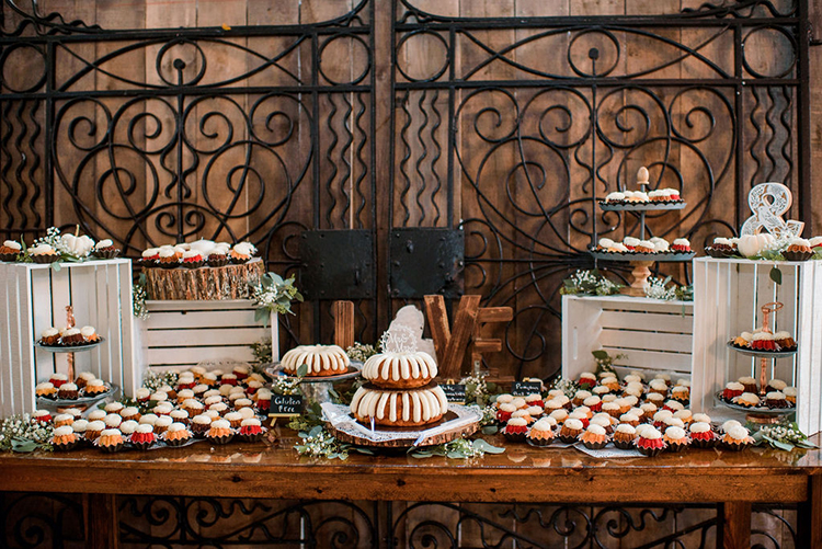 Bundt Wedding Cake Display with Bundtinis | photo by John Myers Photography | featured on I Do Y'all