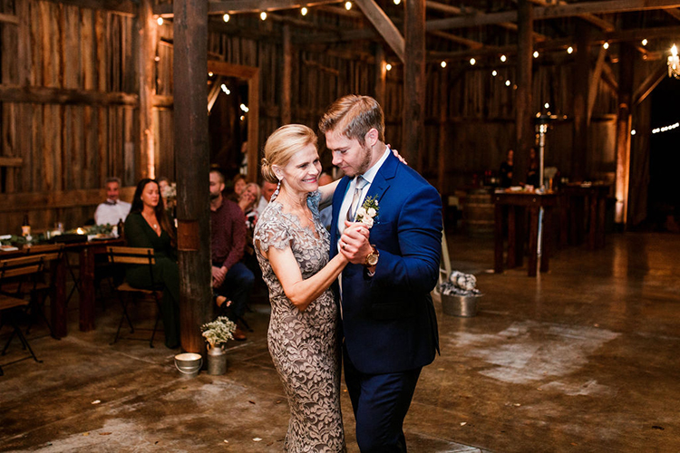 Mother Son Dance at Barn wedding | photo by John Myers Photography | featured on I Do Y'all