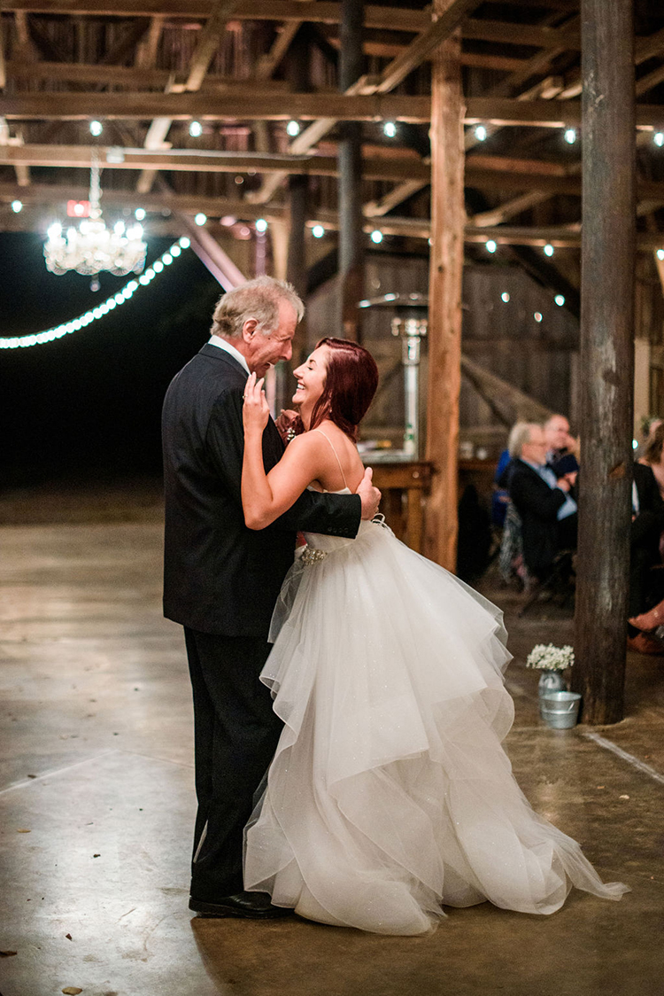 Father Daughter Dance at barn wedding | photo by John Myers Photography | featured on I Do Y'all