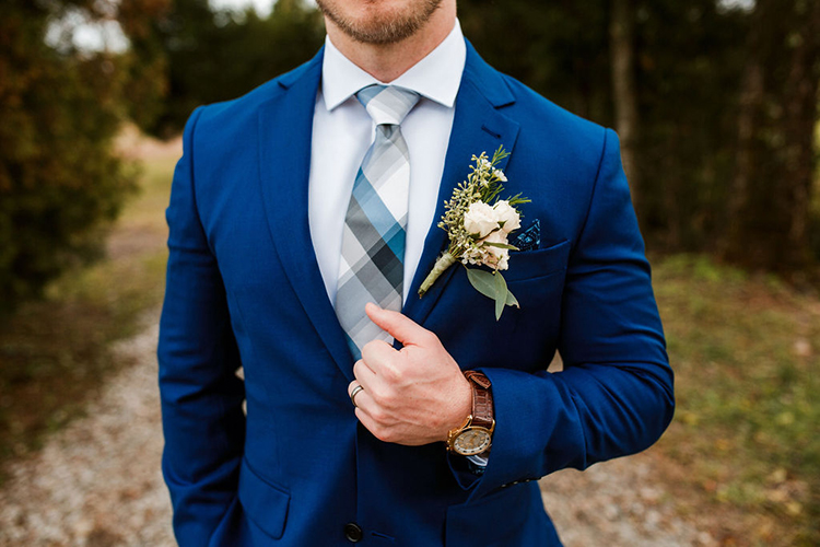 Groom in royal blue suit and plaid tie | photo by John Myers Photography | featured on I Do Y'all
