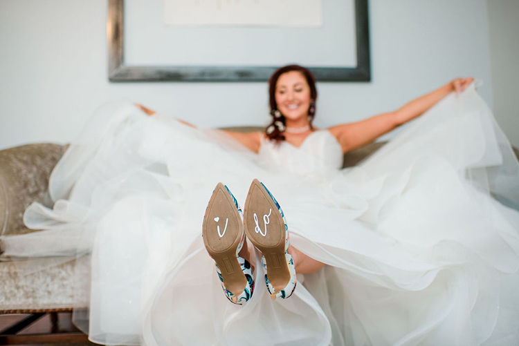 I Do on the bottom of bride's heels | photo by John Myers Photography | featured on I Do Y'all