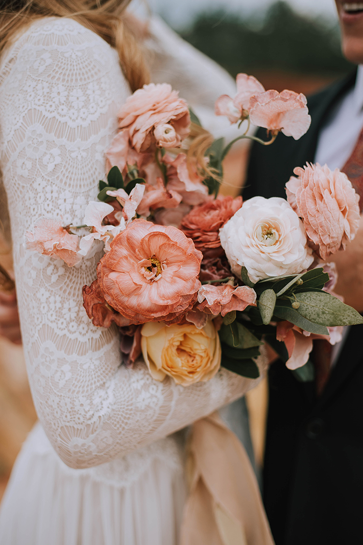 Peachy Pink Boho Wedding Bouquet | photo by The Youngs | featured on I Do Y'all