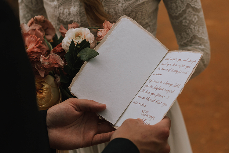 Boho Chic Calligraphy in Vow Book | photo by The Youngs | featured on I Do Y'all