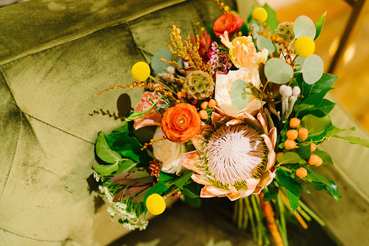 Colorful Wedding Bouquet with King Protea | photo by Staci Lewis Photography | featured on I Do Y'all