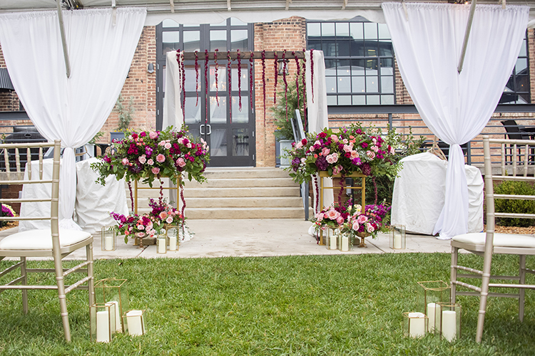 Hotel Rooftop Wedding Pink & Burgundy Decor | photo by Jessica Merithew Photography | featured on I Do Y'all