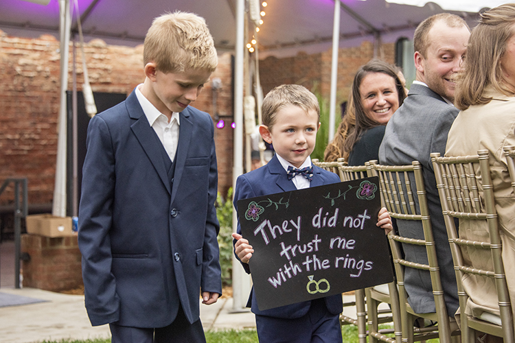 They Didn't Trust Me with the Rings Ring Bearer Sign | photo by Jessica Merithew Photography | featured on I Do Y'all
