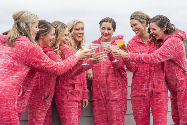 Bridesmaids in Matching Pajama Jumpsuits | photo by Jessica Merithew Photography | featured on I Do Y'all