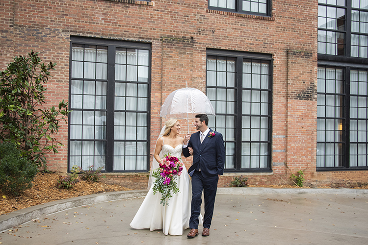 Rainy Pink & Burgundy Hotel Rooftop Wedding | photo by Jessica Merithew Photography | featured on I Do Y'all