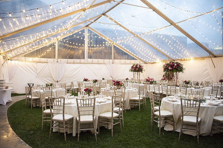 Hotel Rooftop Wedding Reception Under Clear Tent | photo by Jessica Merithew Photography | featured on I Do Y'all