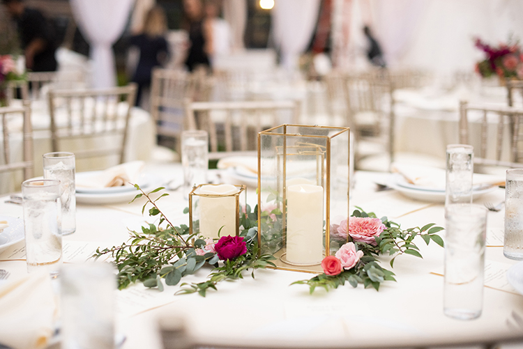 Candles in Gold Modern Holders - Wedding Decor | photo by Jessica Merithew Photography | featured on I Do Y'all