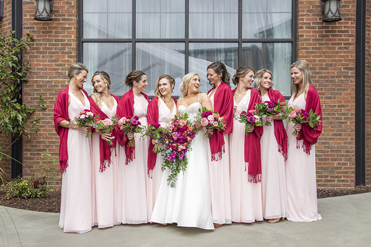 Bridesmaids in Pink Dresses & Pink Scarves | photo by Jessica Merithew Photography | featured on I Do Y'all