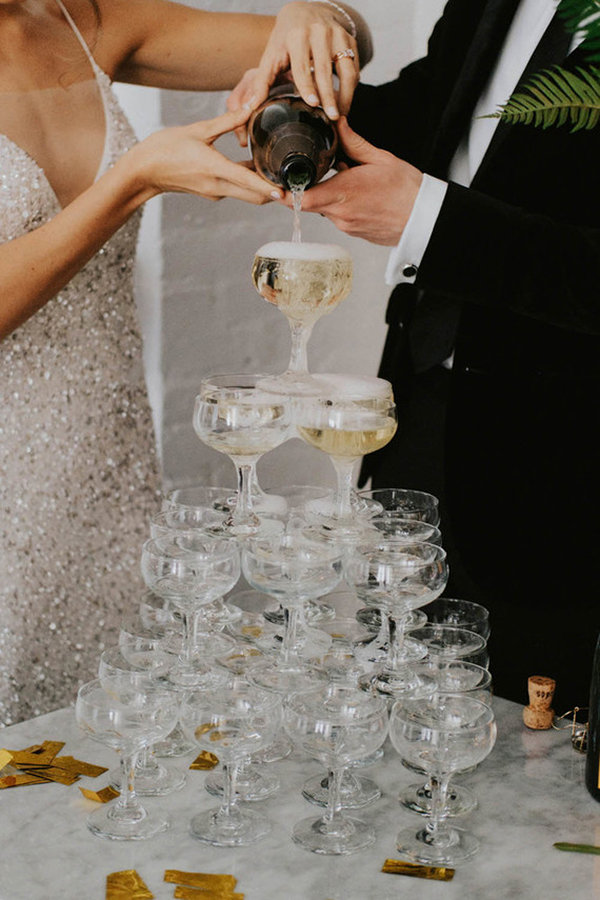 Champagne Tower for Wedding | photo by Sarah Anne Photography | featured on I Do Y'all