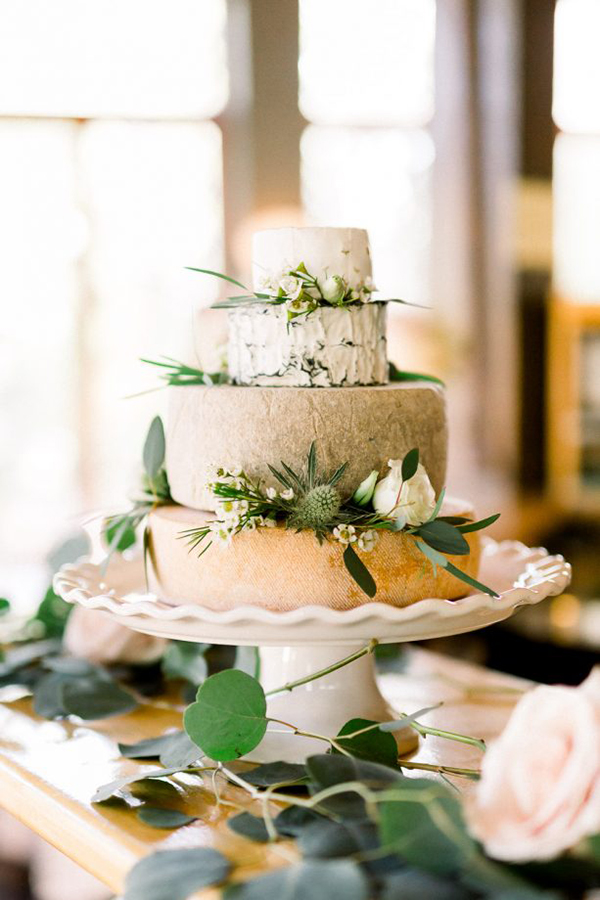 Cheese Wheel Wedding Cake | photo by Stephanie Couture Photography | featured on I Do Y'all for 5 Non-Sweet Alternatives to Wedding Cake