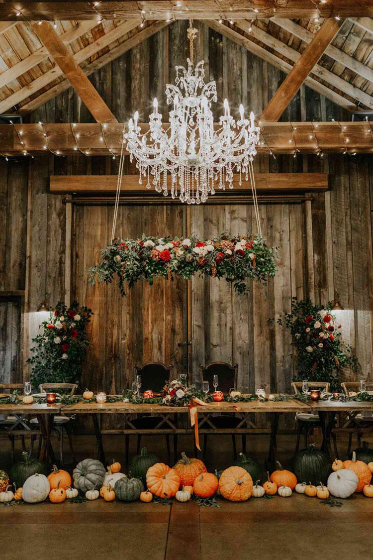 Pumpkin Decor for Fall Wedding | photo by Gina Paulson Photography via BRIDES