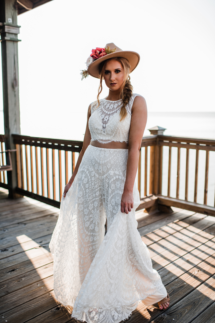 Boho Bride in Lace Jumpsuit & Felt Floral Hat | Boho Wedding Attire | Benefits of Bridal Separates | photo by MBM Photography