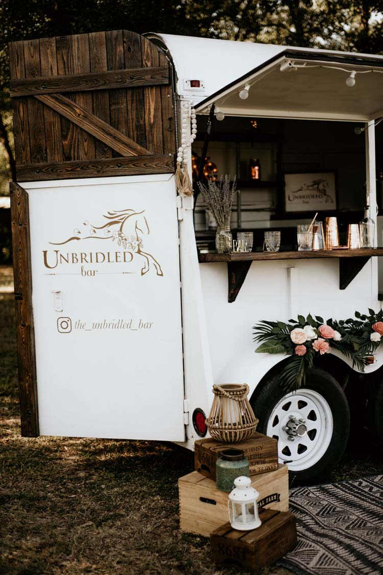Former Horse Trailer turned into Wedding Bar | photo by Shelbi Ann Imagery | featured on I Do Y'all
