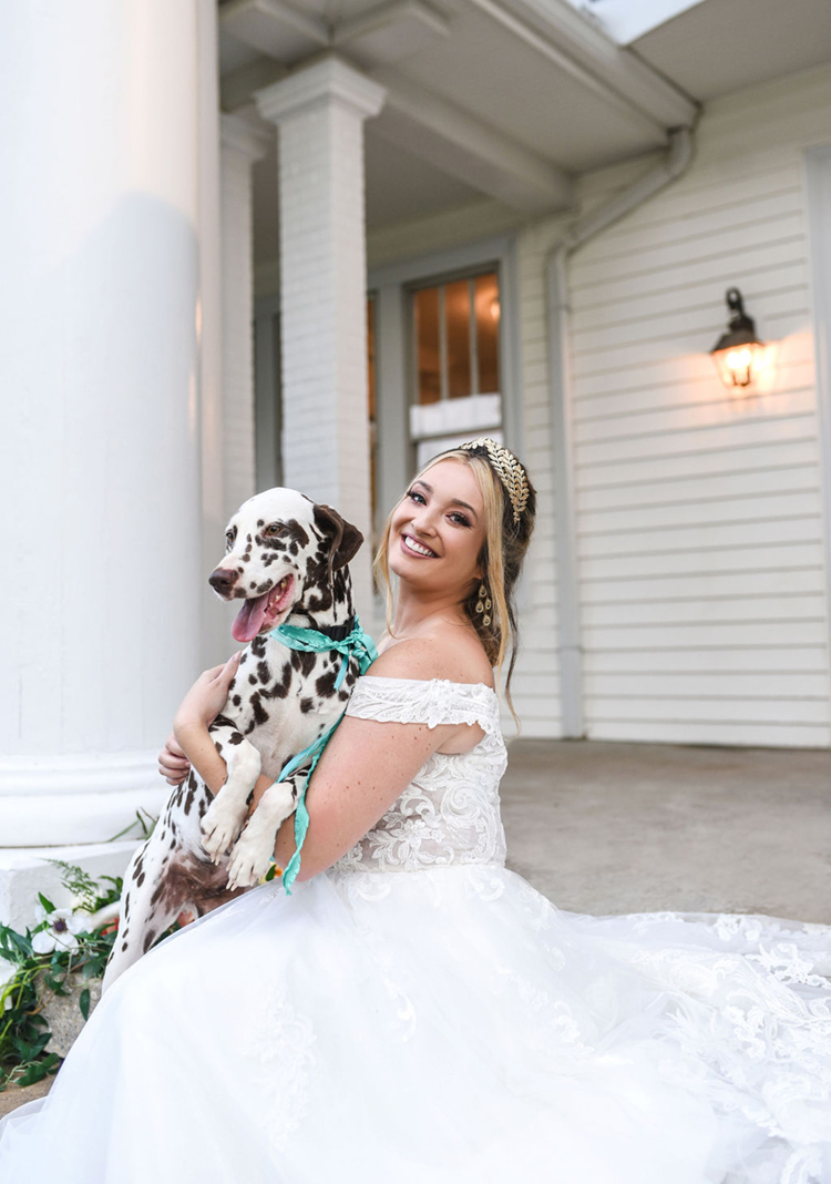 Bride with Brown Dalmatian Wedding Photos | photo by Radiant Photography by Sydney Danielle