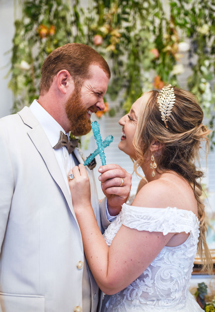 Rock Candy Wedding Toast   Bride & Groom Toasting with Rock Candy Sticks   photo by Radiant Photography by Sydney Danielle