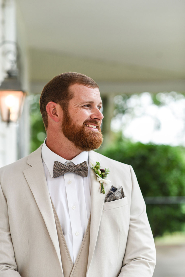 Groom in Natural Tan Suit for Wedding | photo by Radiant Photography by Sydney Danielle