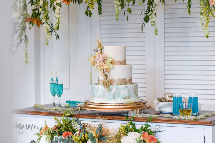 Vintage Shabby Chic Wedding Cake Display   photo by Radiant Photography by Sydney Danielle