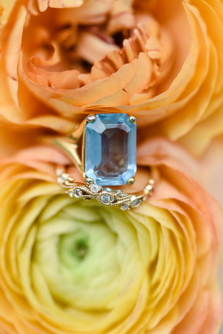 Square Blue Topaz Engagement Ring | photo by Radiant Photography by Sydney Danielle