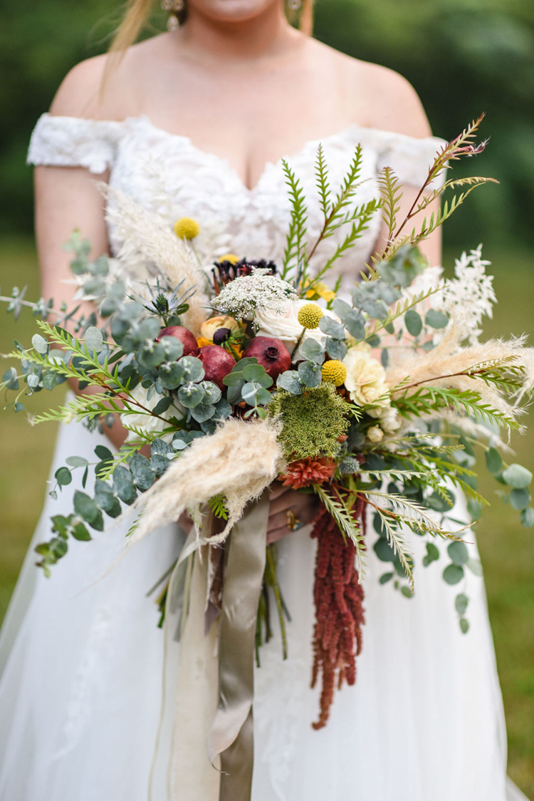 Fall Wedding Bouquet with Pampas Grass and Eucalyptus | photo by Radiant Photography by Sydney Danielle