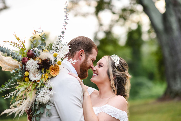 Carolina Elopement with Dalmatians | Bride with Gold Leaf Headband and Lush Fall Wedding Bouquet | photo by Radiant Photography by Sydney Danielle