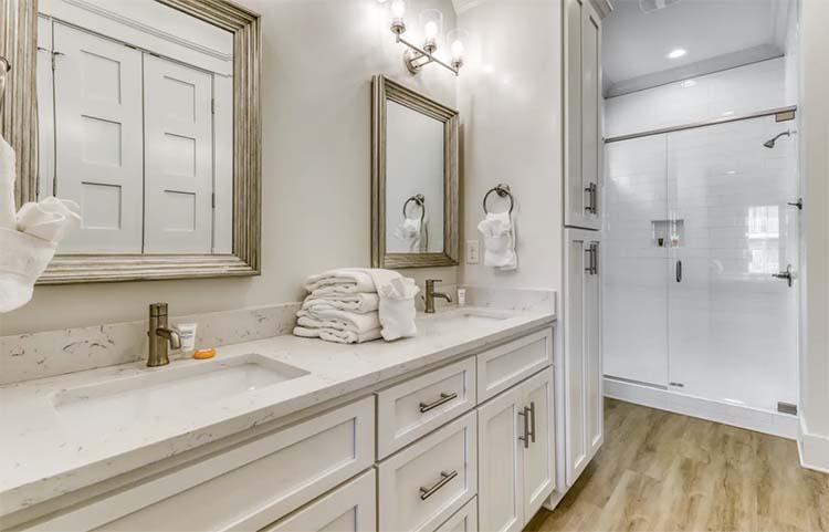 Elegant Modern Bathroom at Beach House with Vacasa   featured on I Do Y'all