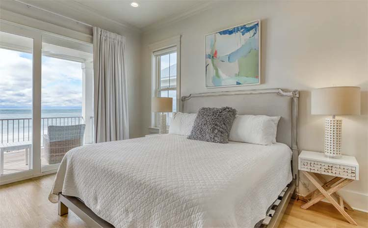 Elegant Calming Bedroom at Beach House for Wedding with Vacasa   featured on I Do Y'all