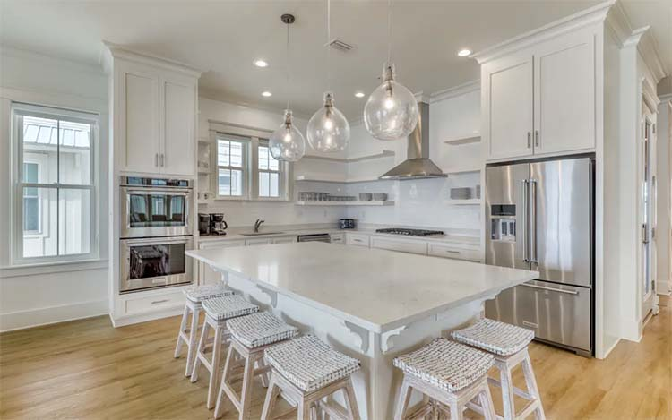 All White Modern Kitchen at Beach House for Wedding with Vacasa   featured on I Do Y'all