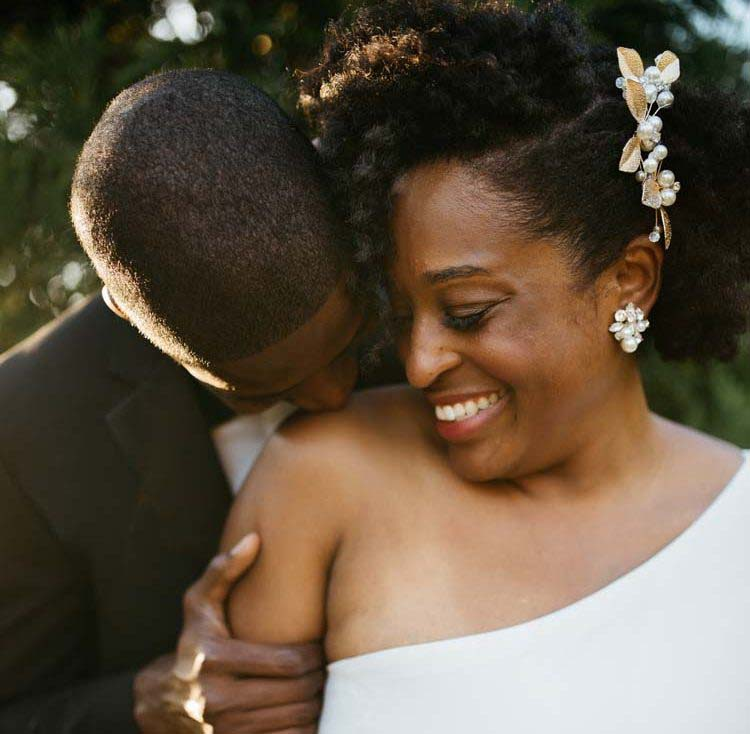 Groom Kissing Brides Shoulder | Physical Touch Love Language | photo by Heather Lynn Gonzalez | featured on I Do Y'all