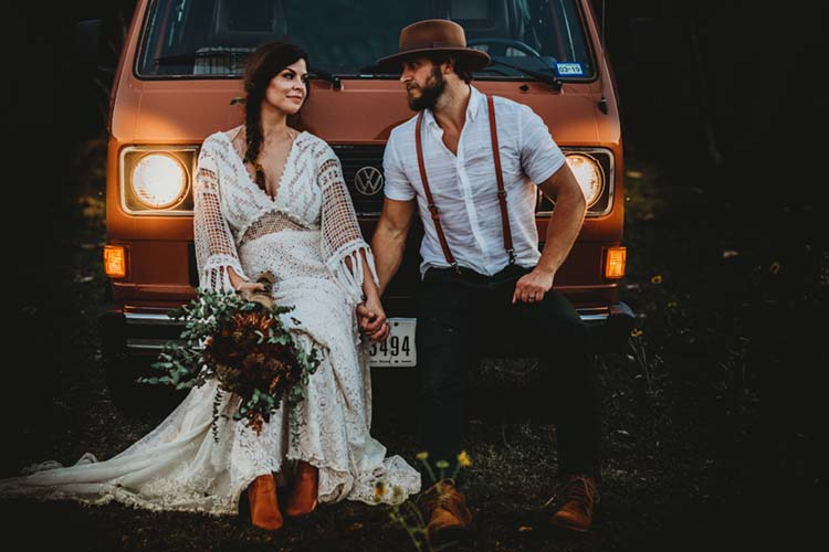 Boho Bride & Groom with Vintage VW Bus   photo by Jessica Rockowitz   featured on I Do Y'all