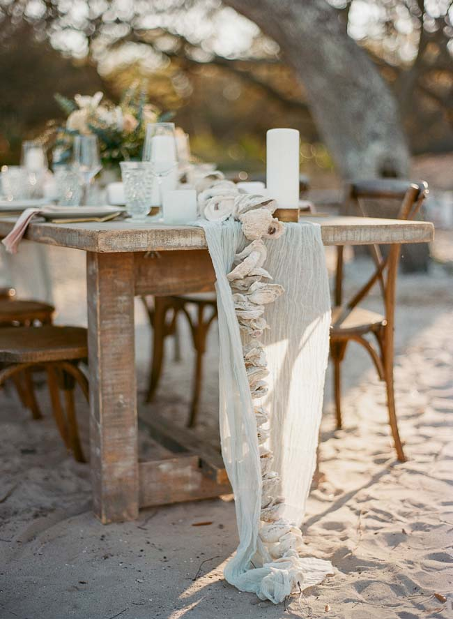 Oyster Wedding Table Runner for Coastal wedding | photo by The Ganeys